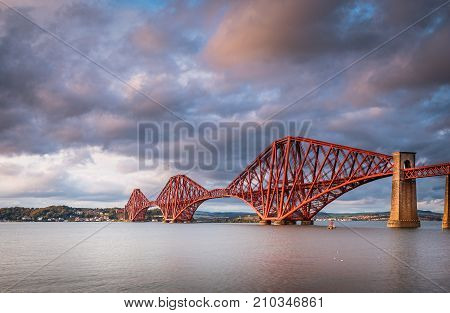 Forth Railway Bridge, which is a cantilever railway bridge across the Firth of Forth in Scotland, west of Edinburgh City Centre