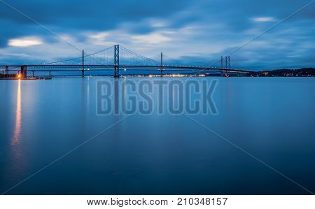 Forth Road Bridges at Night, the Queensferry Crossing is a road bridge in Scotland built alongside the existing Forth Road Bridge, across the Firth of Forth between South Queensferry and North Queensferry