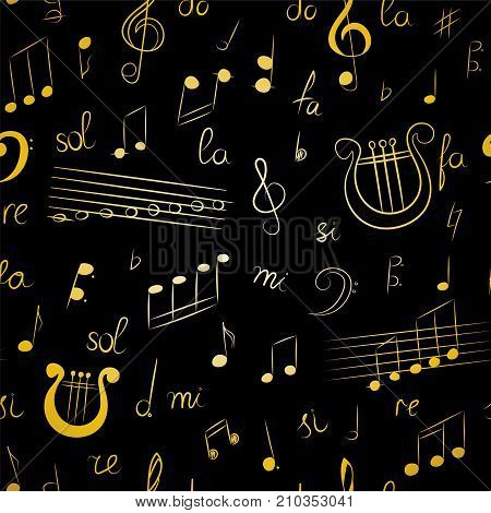 Seamless Pattern of Hand Drawn Music Symbols. Golden Doodle Treble Clef Bass Clef Notes and Lyre.. Vector Illustration.