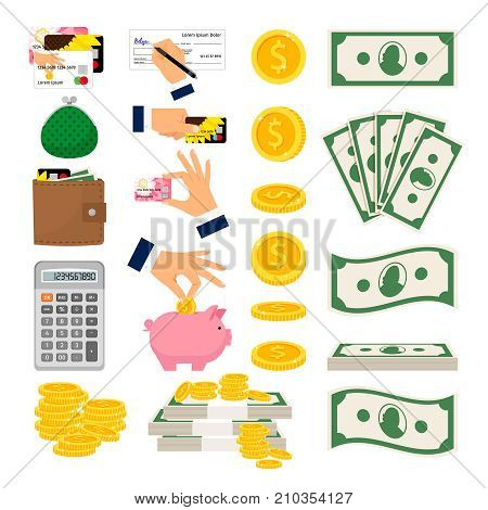 Big set of cash and coin money. Hands putting money in piggy money box, holding credit card. Calculator wallet and credit card vector icons on white background