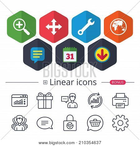 Calendar, Speech bubble and Download signs. Magnifier glass and globe search icons. Fullscreen arrows and wrench key repair sign symbols. Chat, Report graph line icons. More linear signs. Vector