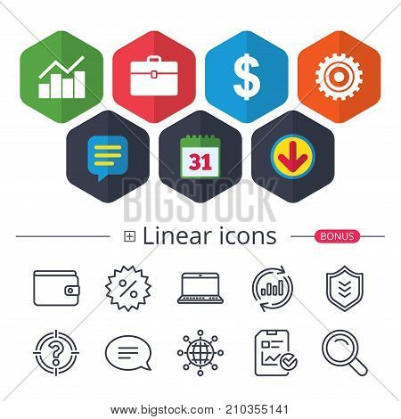 Calendar, Speech bubble and Download signs. Business icons. Graph chart and case signs. Dollar currency and gear cogwheel symbols. Chat, Report graph line icons. More linear signs. Editable stroke