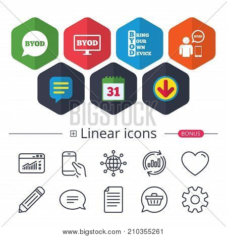 Calendar, Speech bubble and Download signs. BYOD icons. Human with notebook and smartphone signs. Speech bubble symbol. Chat, Report graph line icons. More linear signs. Editable stroke. Vector