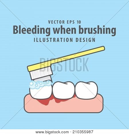 Bleeding When Brushing Illustration Vector On Blue Background. Dental Concept.