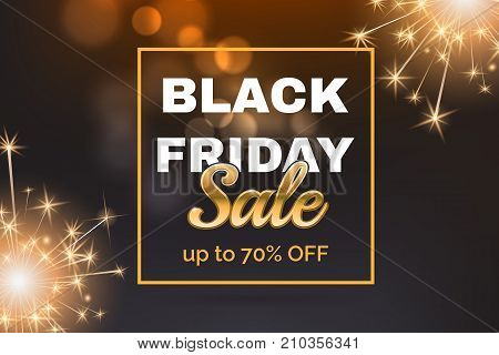 Black friday sale banner with gold frame. Abstract bokeh background with dark gradient and bright fireworks. Template for poster, flyer, invite concept. Vector illustration.