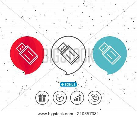 Speech bubbles with symbol. USB flash drive line icon. Memory stick sign. Portable data storage symbol. Bonus with different classic signs. Random circles background. Vector