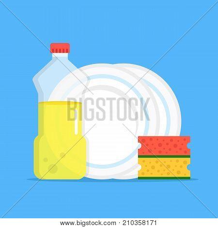 Dishwashing. Dishwashing liquid, kitchen sponges and dishes. Modern flat design graphic elements. Vector illustration poster