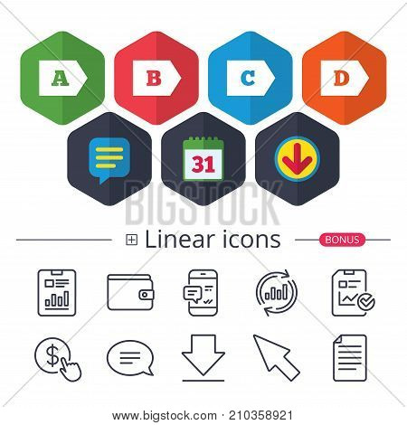 Calendar, Speech bubble and Download signs. Energy efficiency class icons. Energy consumption sign symbols. Class A, B, C and D. Chat, Report graph line icons. More linear signs. Editable stroke