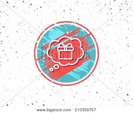 Grunge button with symbol. Dreaming of Gift line icon. Present box in Comic speech bubble sign. Birthday Shopping symbol. Package in Gift Wrap. Random background. Vector
