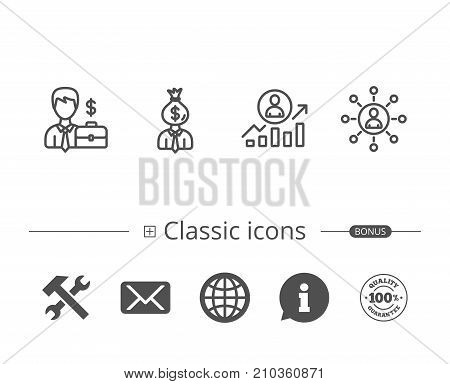 Business Networking, Portfolio and Job results line icons. Businessman, Earnings and Growth chart signs. Information speech bubble sign. And more signs. Editable stroke. Vector