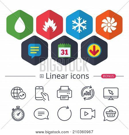 Calendar, Speech bubble and Download signs. HVAC icons. Heating, ventilating and air conditioning symbols. Water supply. Climate control technology signs. Chat, Report graph line icons. Vector