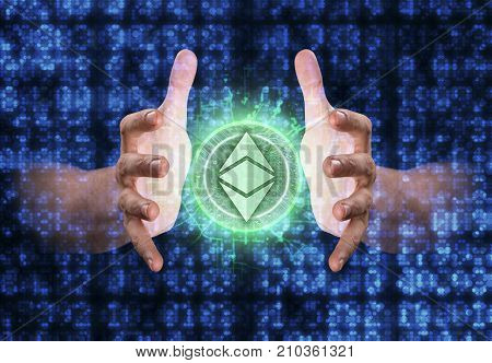 A pair of male hands reaching through digital numerical data figures grasping at an ethereum classic coin hologram poster