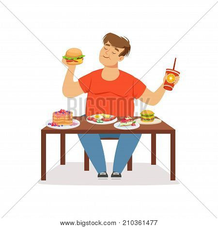 Fat obese man eating fast food, bad habit vector Illustration on a white background