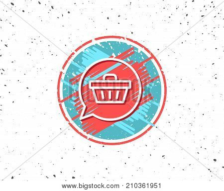 Grunge button with symbol. Dreaming of Gift line icon. Present box sign. Birthday Shopping symbol. Package in Gift Wrap. Random background. Vector