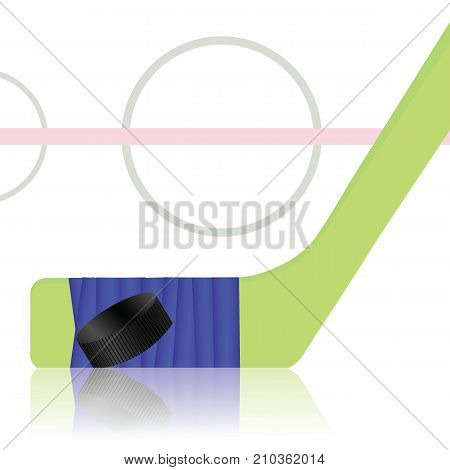Hockey Game Icon witn Black Washer and Wooden Stick on Ice Field