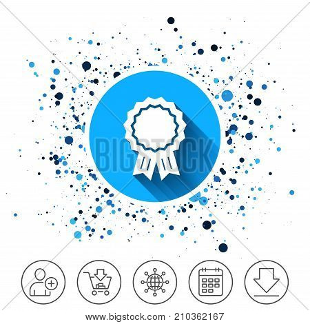 Button on circles background. Award medal icon. Best guarantee symbol. Winner achievement sign. Calendar line icon. And more line signs. Random circles. Editable stroke. Vector
