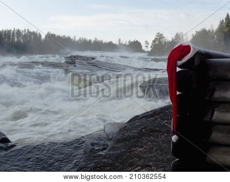 Christmas background in the north of Swedish Lapland