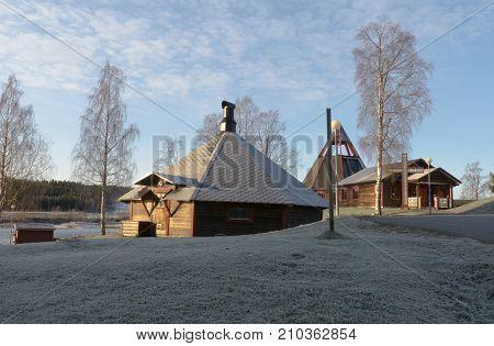 Modern Church near Storforsen in Sweden in october