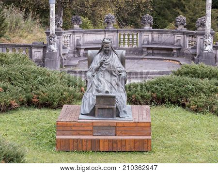 Sinaia Romania October 05 2017 : Monument to Elizabeth-Carmen Silva Regine Romanian - Queen of Romania in the Peles castle in Sinaia in Romania