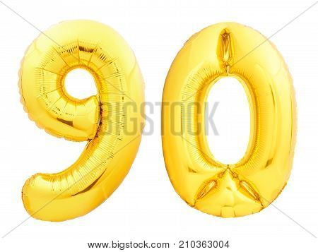 Golden number 90 ninety made of inflatable balloon isolated on white background