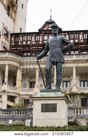 Sinaia Romania October 05 2017 : Statue of Carol the First - the First King of Romania in front of the Peles castle in Sinaia in Romania