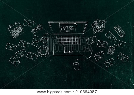 Laptop With Pop-up Loading With Email Envelopes And Business Objects Next To It