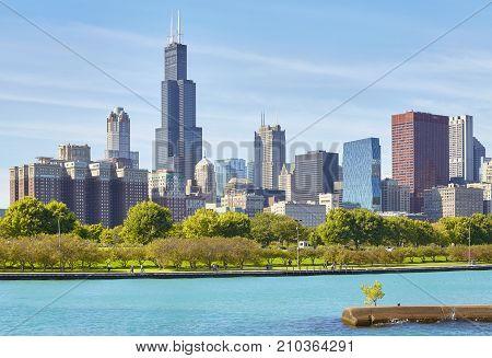Chicago City Skyline On A Sunny Day, Usa.
