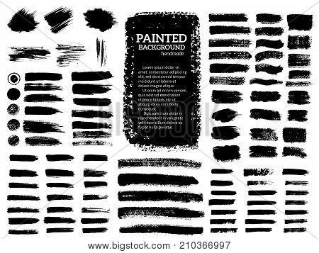 Painted grunge stripes set. Black labels background paint texture. Brush strokes vector. Handmade design elements.