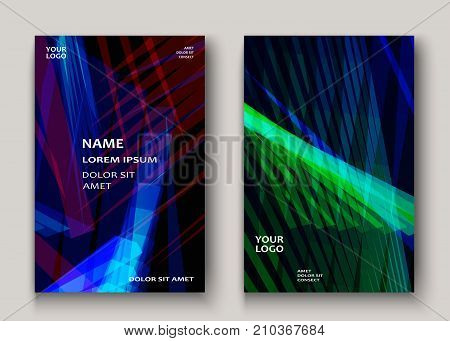 Modern Technology Striped Abstract Covers Design. Neon Lines Background Frame Blue Green. Trendy Geo