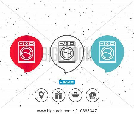Speech bubbles with symbol. Washing machine line icon. Cleaning service symbol. Laundry sign. Bonus with different classic signs. Random circles background. Vector