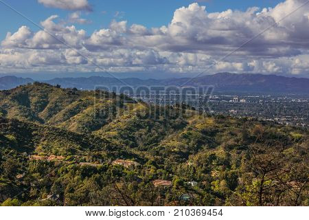 Rolling Hills Of San Fernando Valley From Mulholland Drive Scenic Overlook, Los Angeles, California