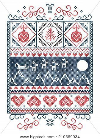 Elegant Christmas Scandinavian, Nordic style winter stitching, pattern including snowflake, heart,  reindeer, mountain, moon, Christmas tree, gift, bubble, snow, robin, snowflake, star in red, white, blue