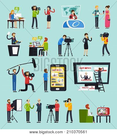 Creating news, set of orthogonal flat icons with reporter, photographer, sound man, blogger, editor isolated vector illustration