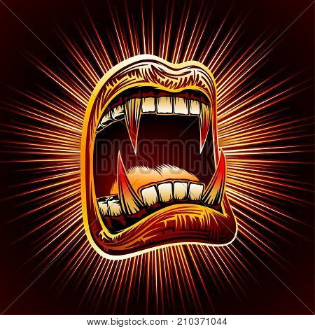 Halloween open mouth with bloody fangs on a radiant background. Disclosed jaws with sharp vampire teeth. Radial zoom of light rays in a comics graphic style. Vector hand drawing retro illustration