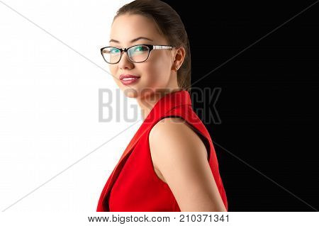 portrait smiling Korean girl in red suit on black and white background