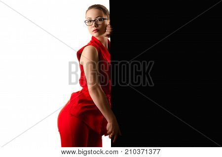 beautiful asian girl in red suit on black and white background