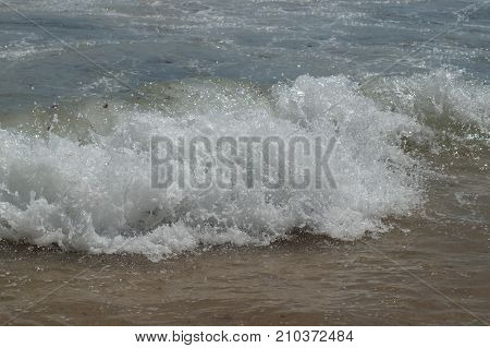 Moderate sea in Portugal. The water in movement, waves. Portugal - Europe