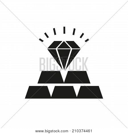 Icon of commodities investment. Precious metals, deposit, jewelry. Banking product concept. Can be used for topics like goods, investment, luxury