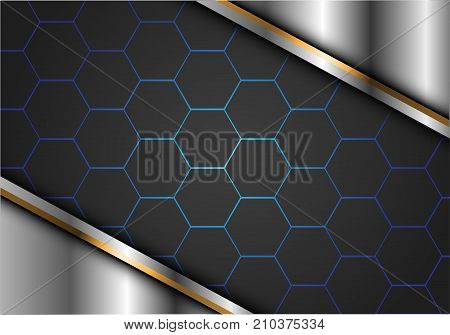 Abstract gray hexagon blue line in silver gold luxury design modern futuristic background vector illustration.