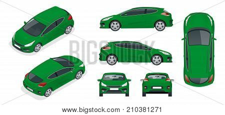 Sportcar or hatchback vehicle. SUV car set on white background, template for branding and advertising. Template vector isolated on white View front, rear, side, top and isometric.