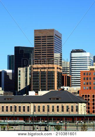 DENVER, COLORADO - AUGUST 11, 2007: Denver Skyline From Millenium Bridge in 2007
