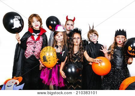 Happy children on Halloween party.Trick or Treat
