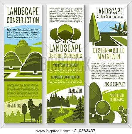 Gardening or landscape construction company banners for urban horticulture and garden planting association. Green parks and nature landscape of eco village or woodland and parkland trees vector design