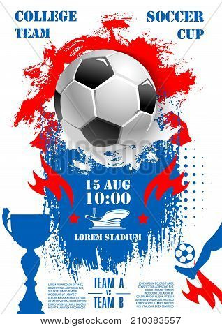 Soccer championship 2018 cup poster template. Vector design of football ball, goal gates at arena stadium and victory goblet award with red stars for sport game teams tournament