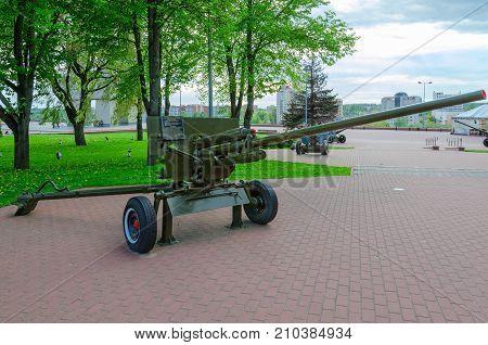 VITEBSK BELARUS - MAY 22 2017: 57-mm anti-tank gun of 1941 model ZIS-2 on Alley of military glory in park of Winners Vitebsk Belarus