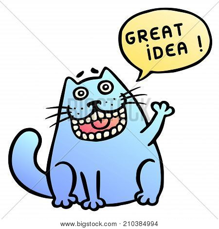 Great idea. Cute cat shout. Vector Illustration. Thought bubble. Cute emoticon character. Cheerful pet.