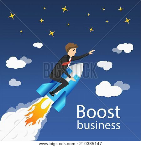 Flying Businessman Cartoon Graphic Design for Business Boost Growth and Start up on Blue Sky Background.
