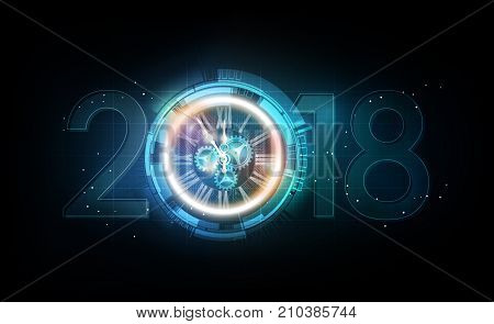 Happy New Year 2018 celebration with white light abstract clock on futuristic technology background, countdown concept, vector illustration