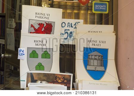 Rome Italy february 11 2017: posters with the emblems of ancient roman districts (rioni)