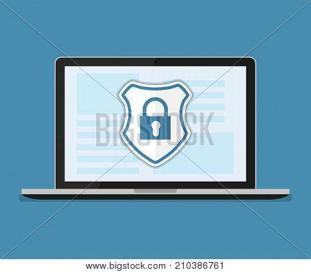 Concept is data security Access .Shield on Computer Desktop or laptop protect sensitive data. Internet security. Vector design
